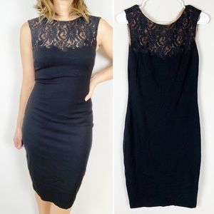 Cache black bodycon sheath dress with lace